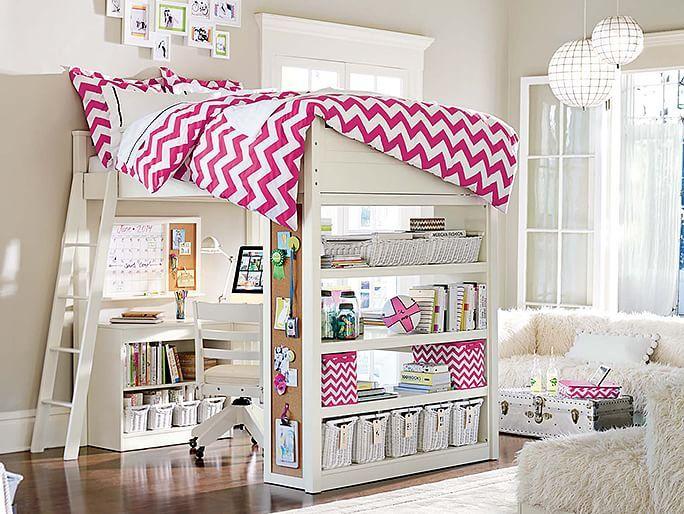 I love the PBteen Sleep & Study Chevron Bedroom on pbteen.com it you Ned a desk but you have nooooo space then get this bed it has I buld in desk and storag I love this soooooo much