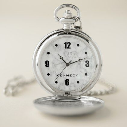 Classy White Marble Pattern Personalized Pocket Watch - chic gifts diy elegant gift ideas personalize