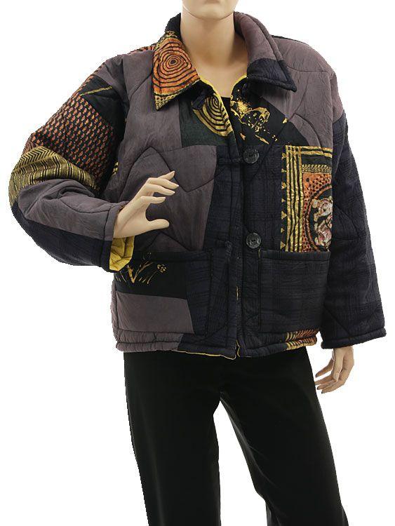 Boho artsy silk coat jacket, patchwork black purple gold M L - Artikeldetailansicht - CLASSYDRESS Lagenlook Art to Wear Women's Clothing