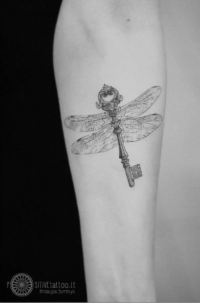Skeleton key tattoo with dragonfly wings by Mindaugas Bumblys