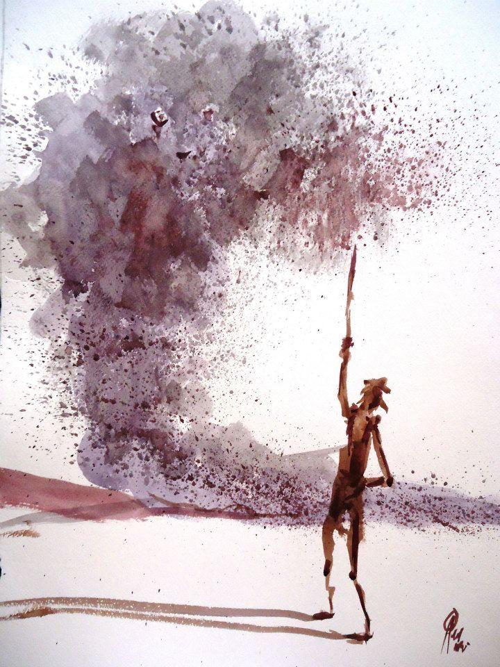 ¨Quijote y tornado¨ De la serie Quijotes de Ricardo Perez Alcala oleo s. papel