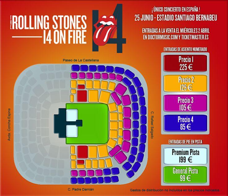 plano de asientos del Santiago Bernabeu para las entradas del Concierto de los Rolling Stones