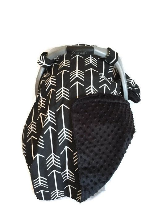 Gender Neutral Baby Carseat Canopy, Chic Black Arrow with Black Minky Carseat Canopy Cover by BizyBelle
