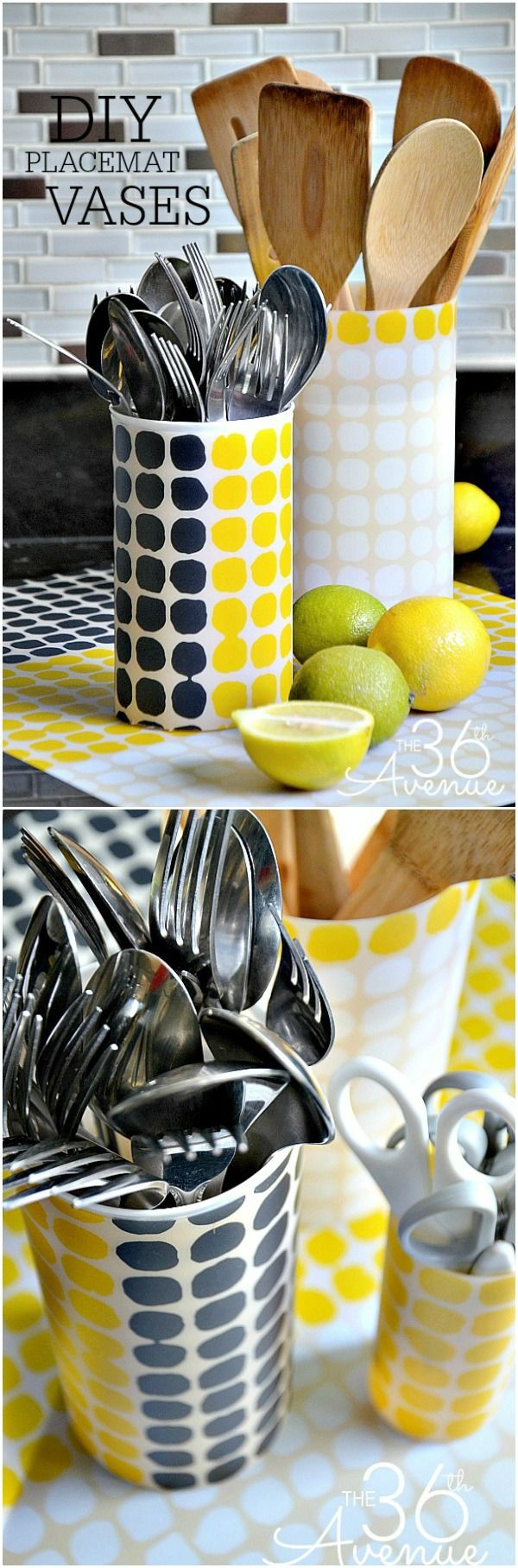 DIY Vases made with a placemat... Super cute, easy and affordable!