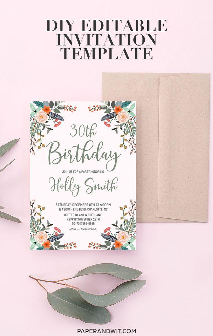 Floral Geburtstag Einladung Vorlage Download Boho Geburtstagseinladung Instant Download 30 Geburtstagseinladung 30 Floral Einladung Alle Einladung Tk Ei Geburtstag Einladung Vorlage Geburtstagseinladungen Vorlage Geburtstagseinladung