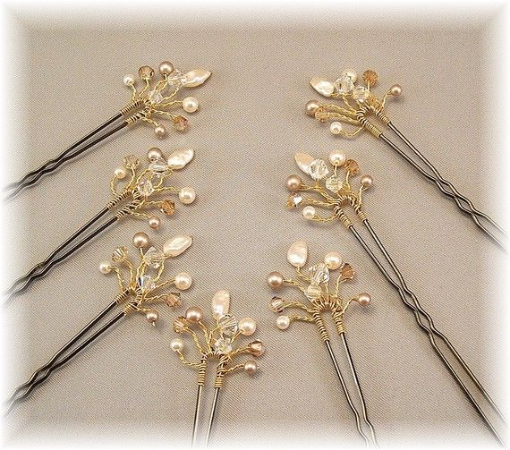 The hairpins I wore for my wedding.  Mine were made with brown pins and the Golden Honey blend of cristals and pearls because of my auburn hair and my autumn color scheme.