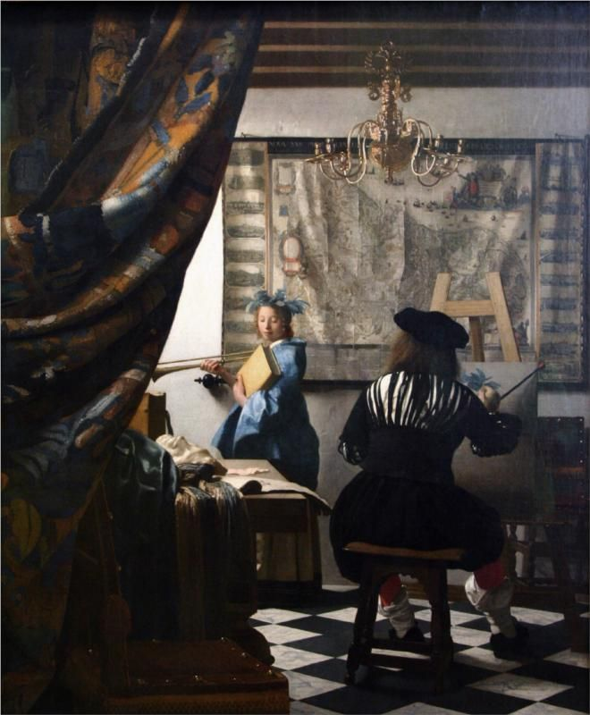 Page: The Art of Painting  Artist: Johannes Vermeer  Start Date: c.1666  Completion Date:c.1668  Style: Baroque  Genre: genre painting  Technique: oil  Material: canvas  Dimensions: 120 x 100 cm  Gallery: Kunsthistorisches Museum