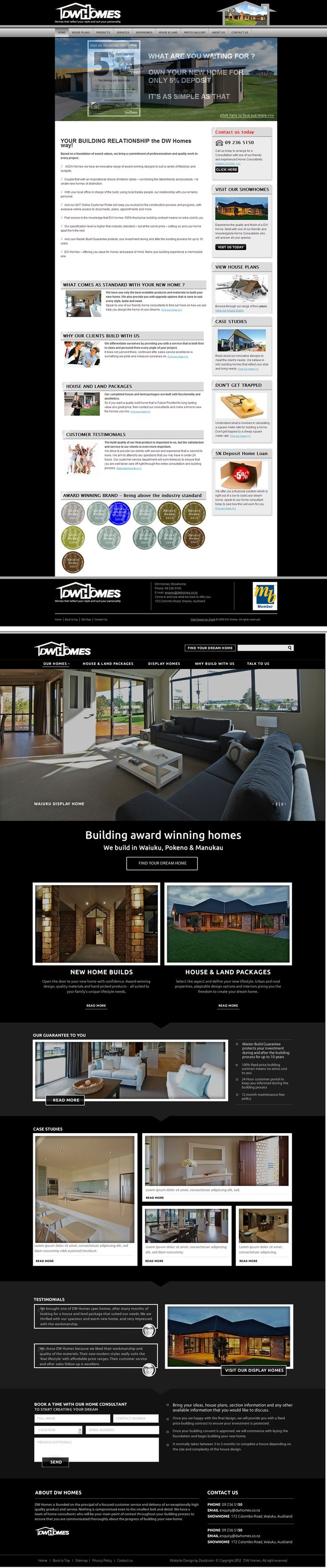 DW Homes website redesign