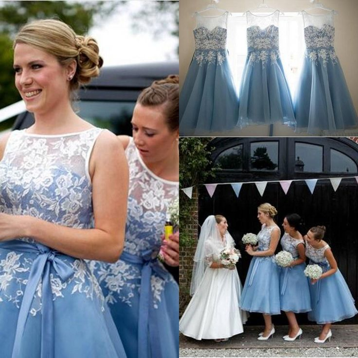 Silver Dresses 2015 New Scoop Neckline Tank Mid Calf A Line Tea Length Bridesmaid Dresses With Lace Appliques Light Blue Women Short Party Prom Dress Bill Levkoff Bridesmaid From Cc_bridal, $96.76| Dhgate.Com