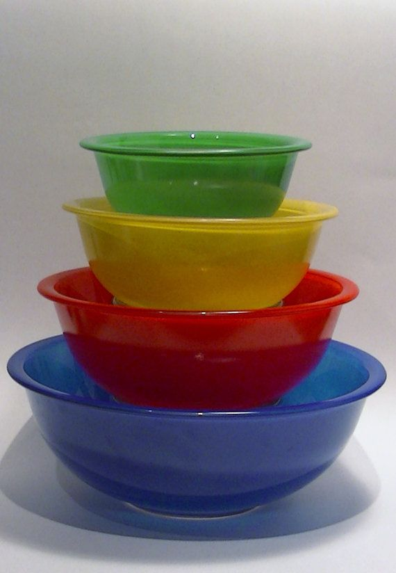Vintage Pyrex Mixing Bowls Primary Colors on by Lifeinmommatone, $50.00