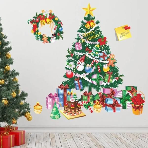 Christmas Tree Gift Wall Stickers Living Room Bedroom Store Window Wall  Decals Christmas New Year Gift Home Decor Mural Poster Part 98