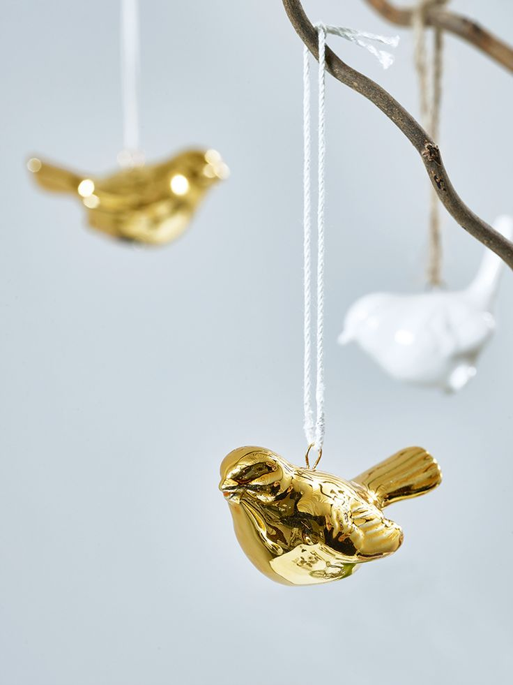 NEW Three Hanging Porcelain Birds - Gold
