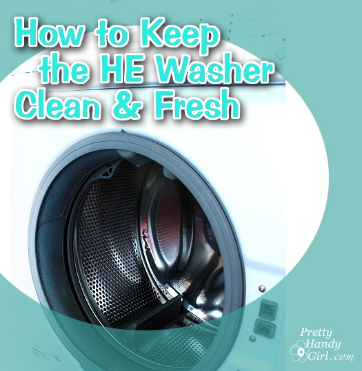 How to Keep your HE Washer Clean & Fresh (easy tips)  run the washer empty on the hot water setting. Add a cup of white vinegar into the detergent dispenser. And add 1/2 cup of baking soda inside the drum before you press start.