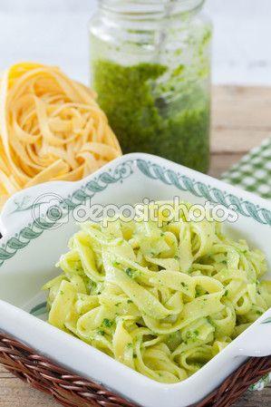 Papardelle With Pesto — Stock Image #107070514 #dessert #pastaphotos #foodphotography #pasta #ItalianPasta #cuisineblogs #ricettepasta #pastarecipes #Depositphotos