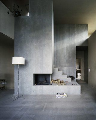 Haard en trap in een module - foto door klaraj #concrete #interieur #architectuur