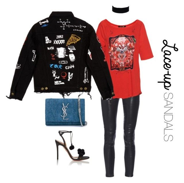 """""""Edgy Laced Up Girl !"""" by luluuheree on Polyvore featuring Yves Saint Laurent, Roberto Cavalli, Aquazzura, ASOS Curve, contestentry, laceupsandals and PVStyleInsiderContest"""