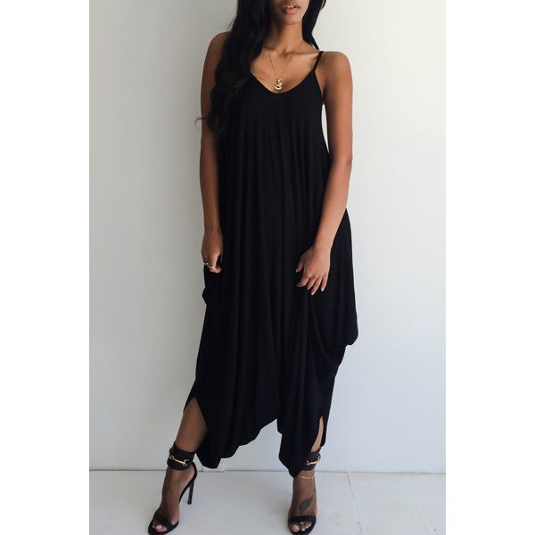 $16.44 Sexy Strappy Black Loose-Fitting Jumpsuit For Women
