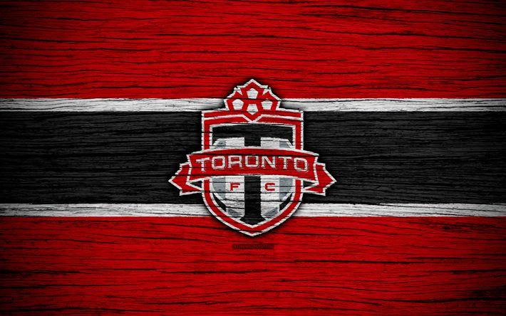 Herunterladen hintergrundbild toronto fc -, 4k -, mls -, holz-textur, eastern conference, football club, kanada, toronto, fußball, logo, fc toronto