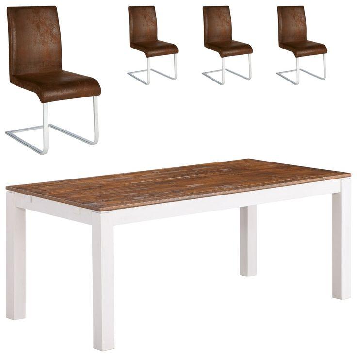 Essgruppe Fakse/ Move (90x180, 4 Stühle, Freischwinger) - Essgruppen - Esszimmermöbel & Küchenmöbel - Möbel - Dänisches Bettenlager