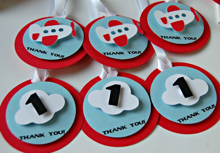 Airplane Theme Birthday Party Favor Tags (12)