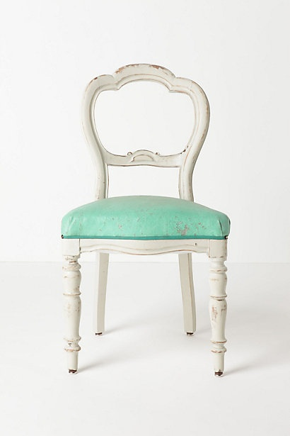 Anthro... LOVE.: Vintage Chairs, White Chairs, Dining Rooms Chairs, Kitchens Chairs, Desks Chairs, Olmo Chairs, Color, Antiques Chairs, Turquoi
