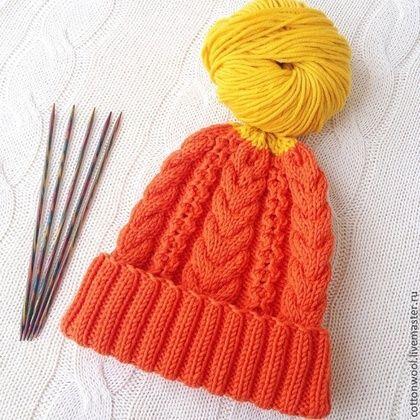 Шапочка Ice Orange из итальянского мериноса - оранжевый,однотонный,шапка