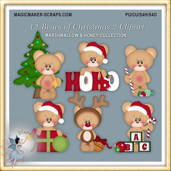 Christmas Clipart Twelve Days of Teddy Bears by MagicmakerScraps