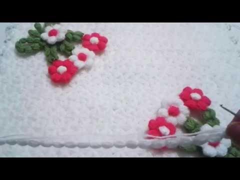 puf çiçekli kare lif yapımı - YouTube