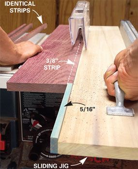 Cut narrow strips with a sliding jig. To make the jig, attach a 5-in.-long strip of wood, 1/16 in. narrower than the width of the desired rip, to the end of a 1x6 as shown. Basically you're creating a horizontal push stick. Add a handle near the end of the jig to give yourself better control as you run the jig through the saw.