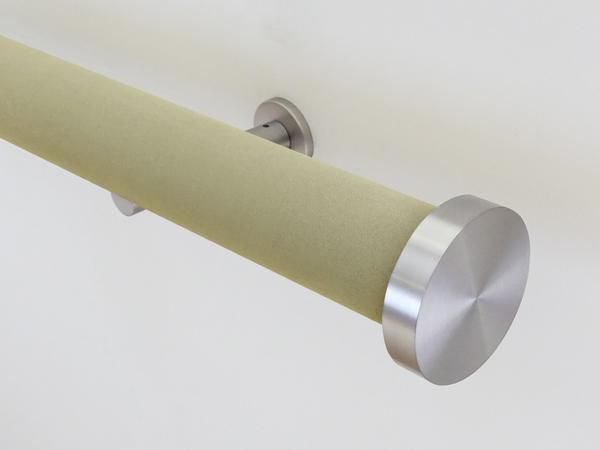 """wrapped & tracked curtain pole set in green suede """"new acorn"""" by Walcot House"""