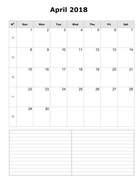 Blank April 2018 Calendar Portrait MaxCalendars Calendar