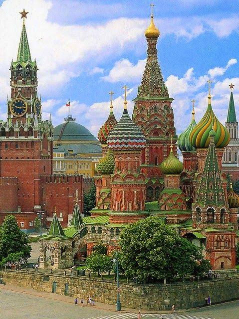 Russia, Moscow A View of The Incredible St.Basil's Cathedral From the Rear. - The Cathedral of Vasily the Blessed commonly known as Saint Basil's Cathedral, Kremlin, is a former church in Red Square in Moscow, Russia. The building, now a museum, is officially known as the Cathedral of the Intercession of the Blessed Virgin on the Moat or Pokrovsky Cathedral. It was built from 1555–61 on orders from Ivan the Terrible and commemorates the capture of Kazan and Astrakhan.