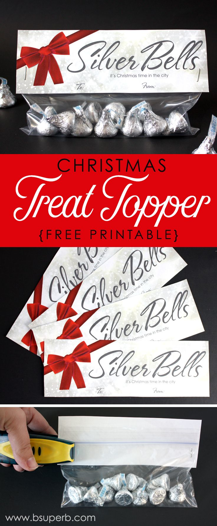 Christmas Treat Topper - Silver Bells