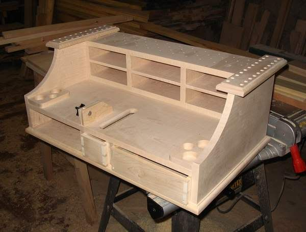 Fly tying bench with a trash bin. | Fly tying station ...