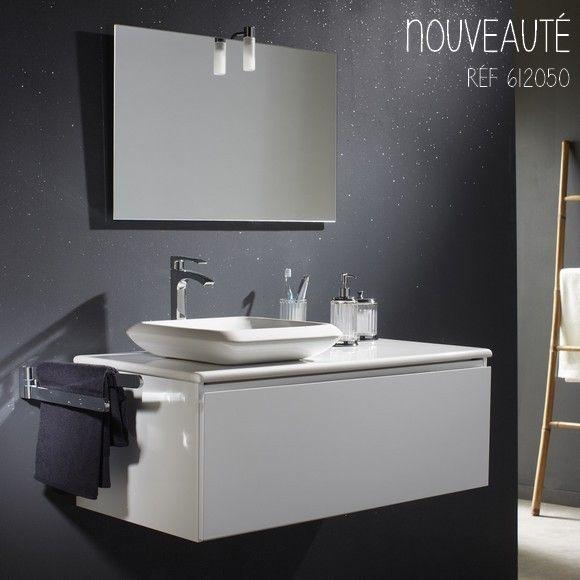 Meuble de salle de bain blanc et vasque carrée en céramique  #planetebain #salledebain