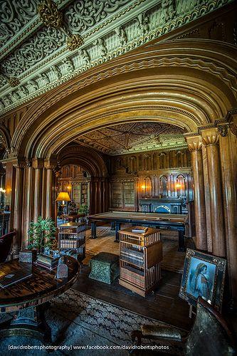 The library, Penrhyn Castle, Gwynedd, Wales