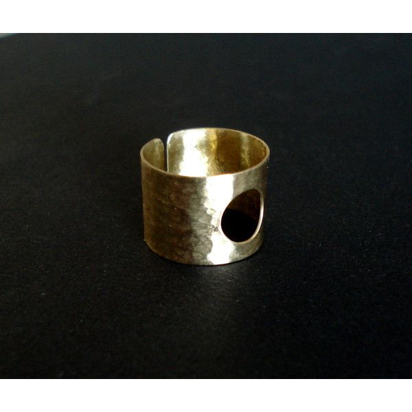 Gold Handcrafted Ring Cut Out Cuff Wide Band Geometric Adjustable Gift... (€13) ❤ liked on Polyvore featuring jewelry