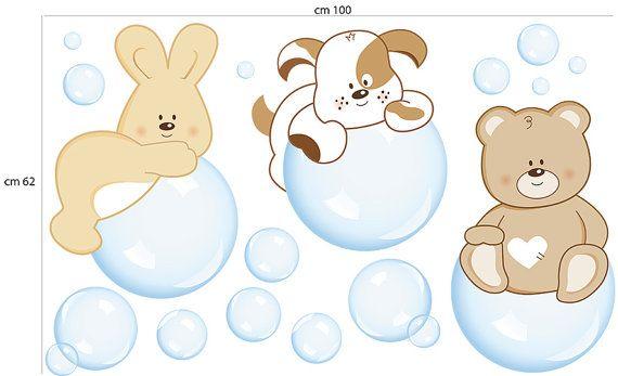 Il Kit Bolle di sapone : 1 Coniglietto su bolla cm 33x48 (13x18,91) 1 Cagnolino su bolla cm 34x44 (13,4x17,34) 1 Orsetto su bolla cm 29x47 (11,43x18,52) e bolle varie di misure e dimensioni.  Il Kit può essere personalizzato con il nome/i del tuo bambino/i (massimo fino a tre nomi).  Il nostro prodotto è artigianale creato con amore e fantasia da designers che propongono uno stile unico e inimitabile, confezionato su misura per voi e i vostri bambini. A pagamento avvenuto, saranno necessari…
