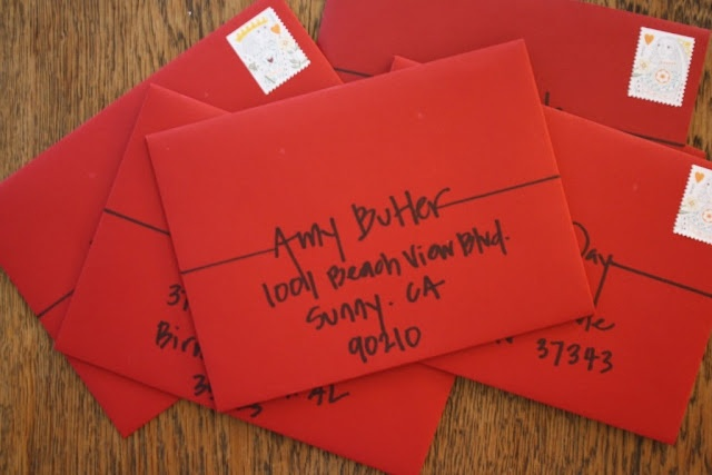 cute simple way to address invites a little differently Writing letters the old fashioned way is really sweet!