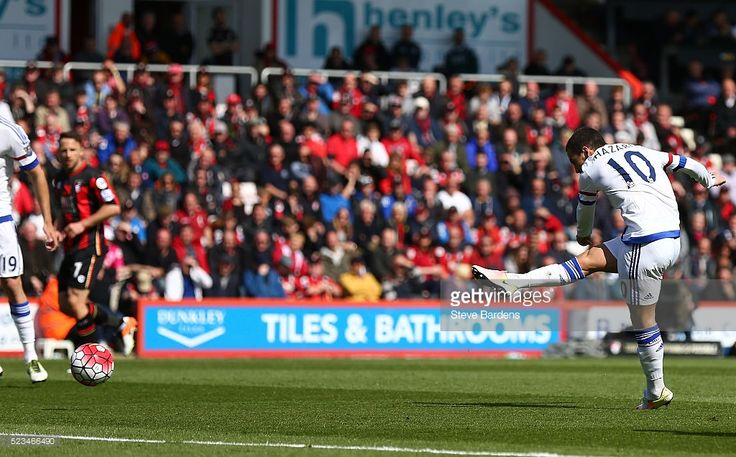 Eden Hazard of Chelsea scores his sides second goal during the Barclays Premier League match between A.F.C. Bournemouth and Chelsea at the Vitality Stadium on April 23, 2016 in Bournemouth, United Kingdom.