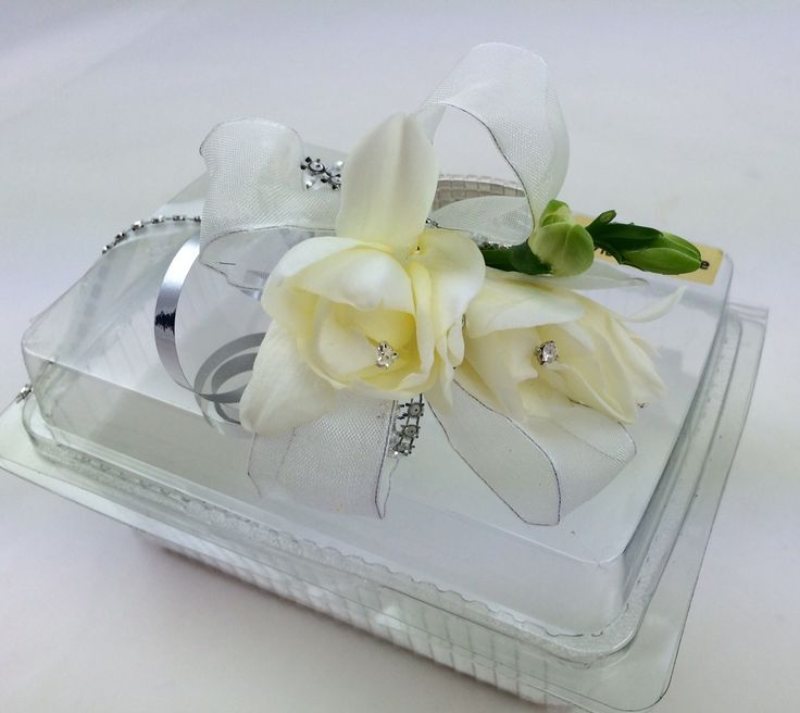 Beautiful white freesia wrist corsage on a gorgeous diamonté bracelet, wrist corsage, debs flowers, prom flowers, florist cork, unforgettable flowers cork