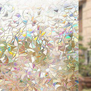 Rabbitgoo® 3D Non-Adhesive Static Decorative Privacy Glass Window Film Anti-UV 90CMx200 CM, Rainbow Colorful Pattern: Amazon.co.uk: Kitchen & Home