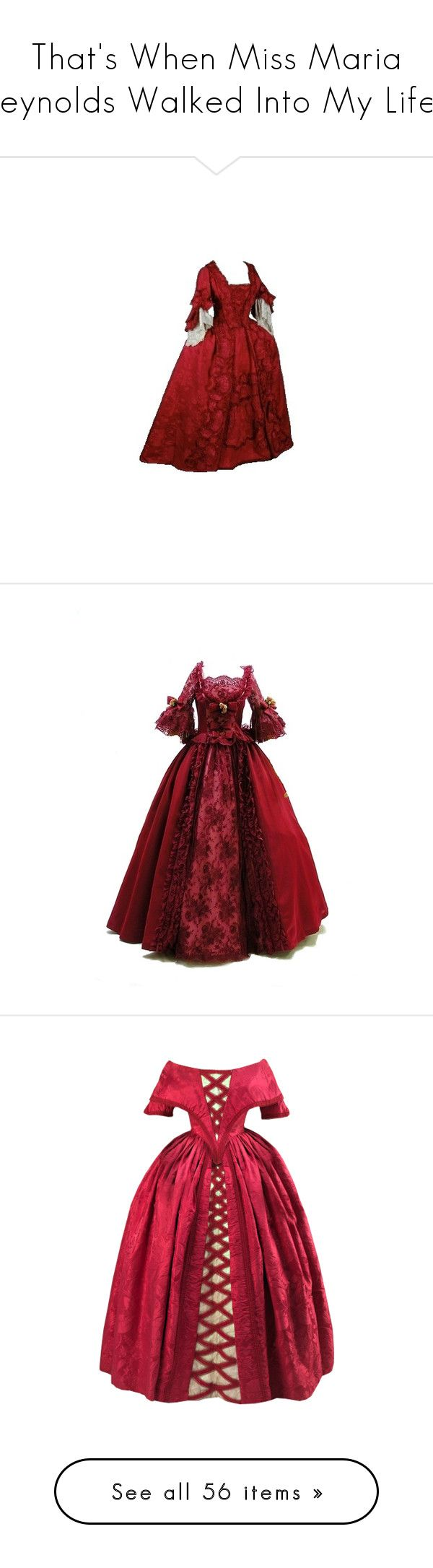 """""""That's When Miss Maria Reynolds Walked Into My Life..."""" by taylormanson ❤ liked on Polyvore featuring Hamilton, yayhamlet, mariareynolds, hamiltrash, dresses, gown, long dress, tumblr, costume and gowns"""