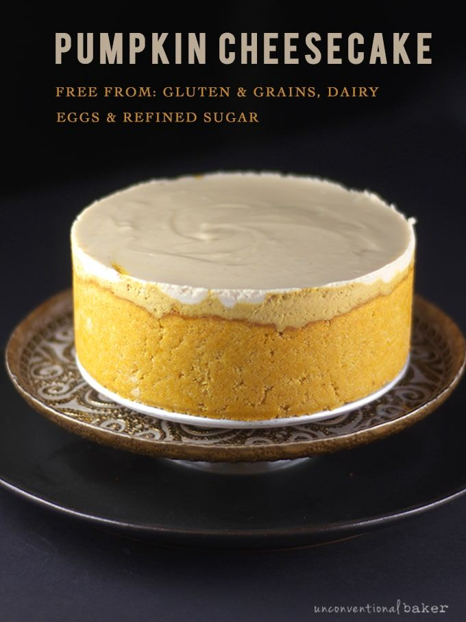 Pumpkin Cheesecake {Free From: gluten & grains, dairy, eggs, and refined sugars}