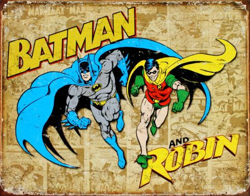 Batman and Robin Weathered Panels Tin Sign at AllPosters.com