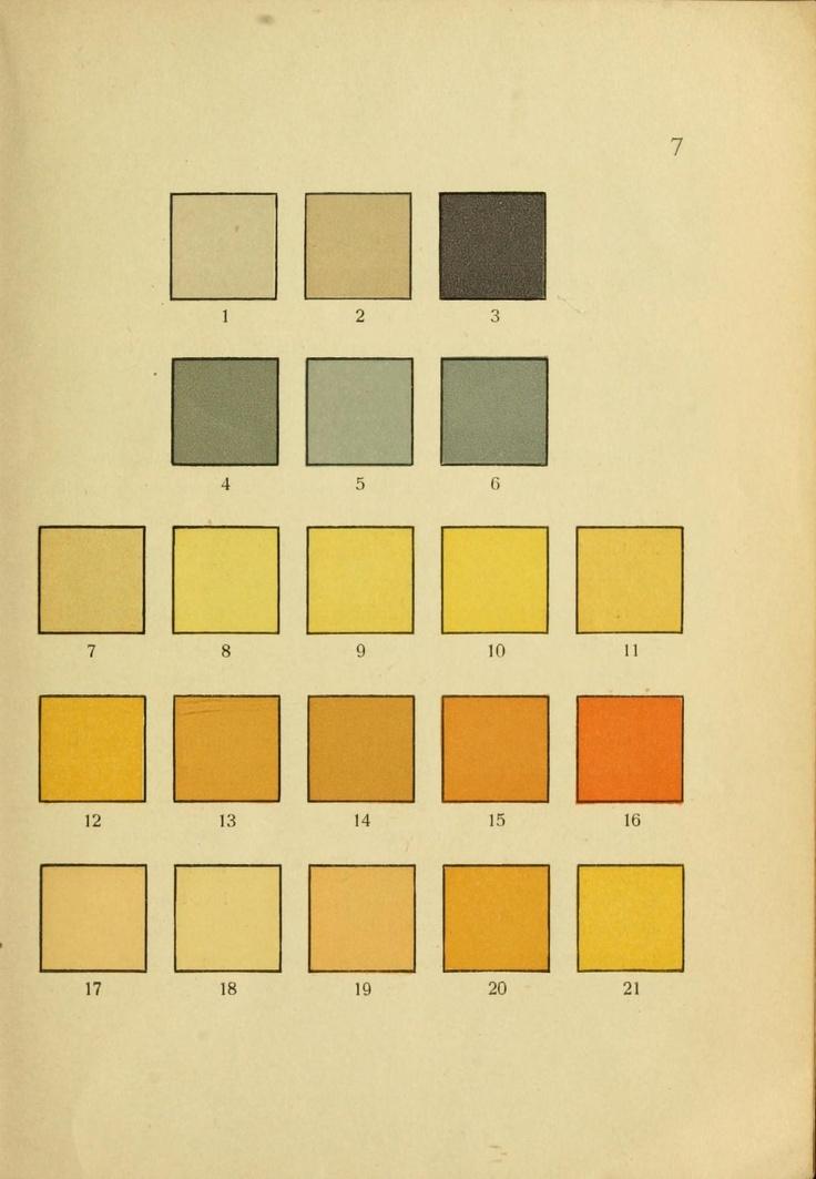 grays and yellows from Schwaneberger, Farben-Tafeln für Briefmarkensammler, via http://smithsonianlibraries.tumblr.com/