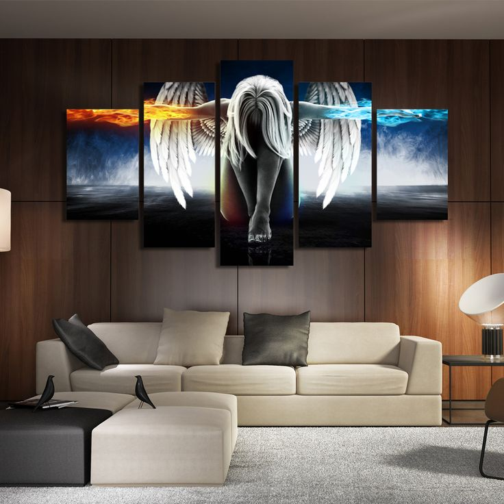 modern art for living room. HD Printed 5 piece canvas art angel with wings painting anime room decor  print poster wall Best 25 ideas on Pinterest Office