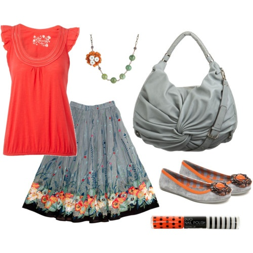Coral and grey! <3Colors Combos, Fashion, Summer Outfit, Style, Color Combos, Church Outfits, Cute Outfits, Summer Skirts, Bags