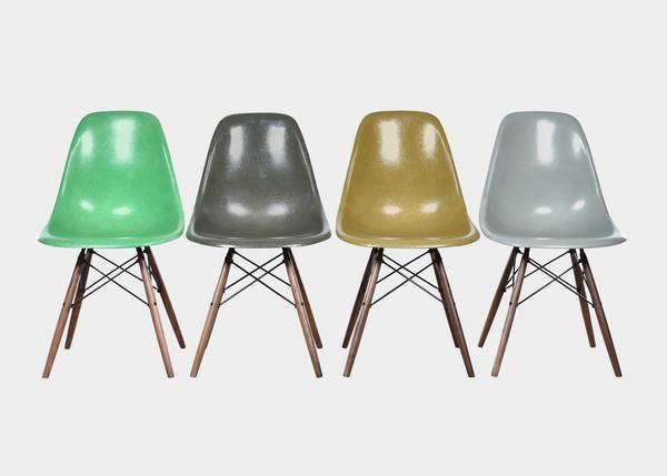 Vintage Eames DSW Set (Kelly Green, Olive Green Dark, Musterd, Sea Foam Green) www.joink.nl
