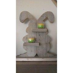 Paashaas van steigerhout - Naambordjes - Accessoires